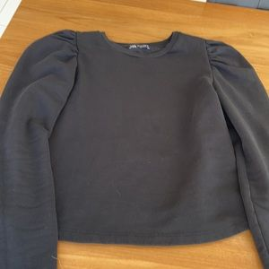 Zara black puff shoulder sweatshirt